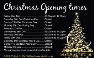 SBC Christmas Opening Hours
