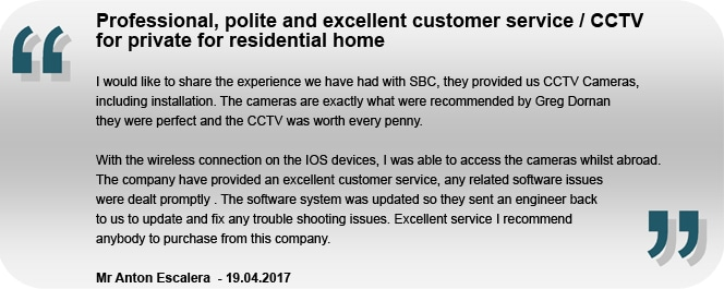 Dont take our word for it! Residential CCTV Customer review