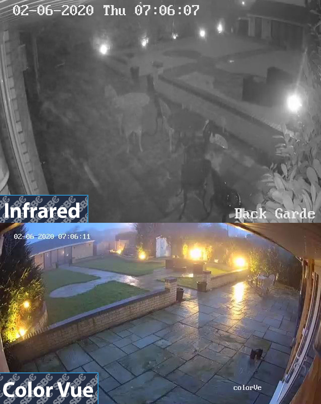 Hikvision colorvu camera compared with standard infrared technology on early winters morning