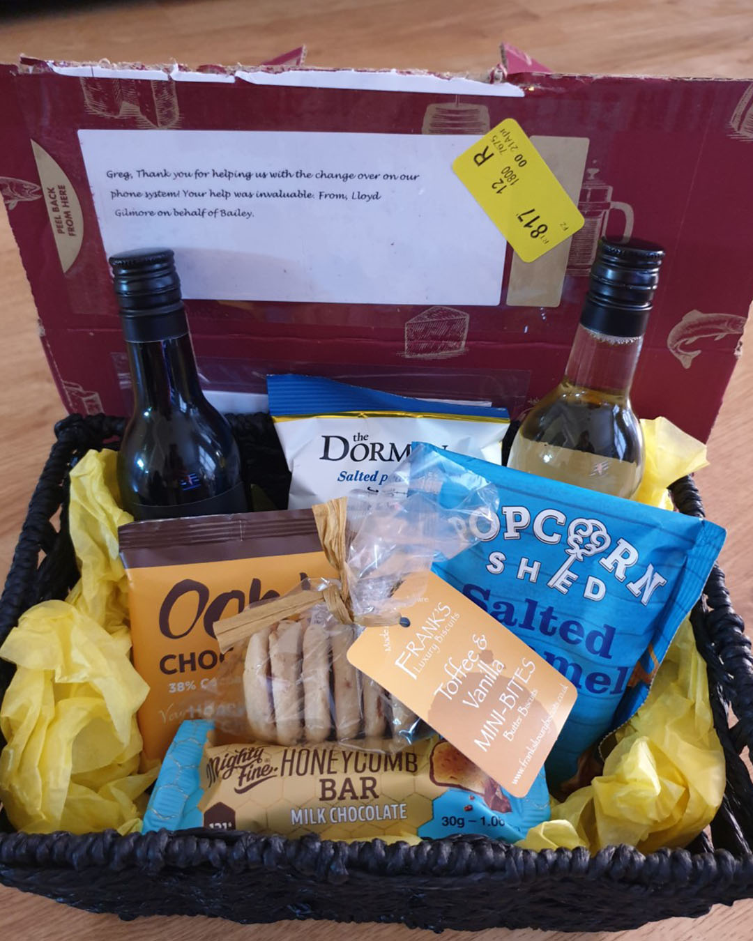 The gift hamper basket that Greg received for offering his free customer support assistance