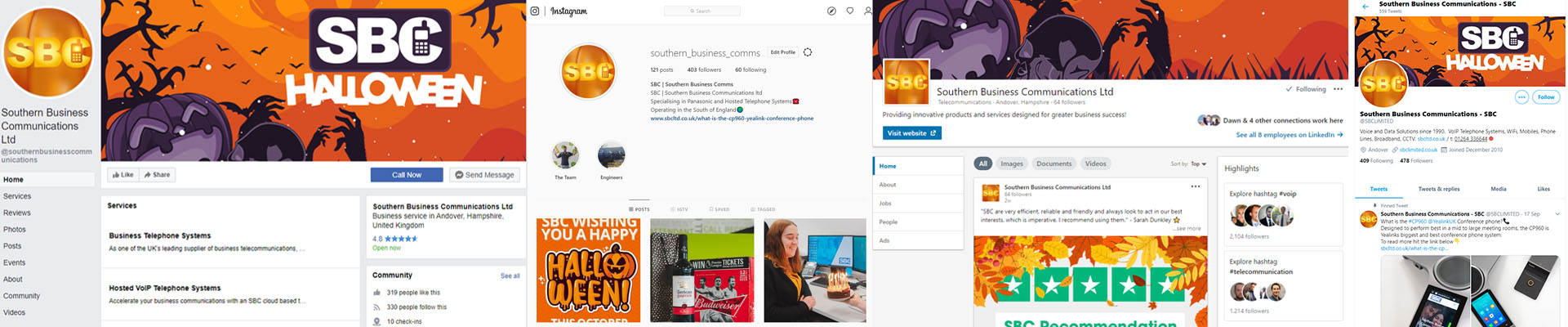 SBC Instagram Facebook LinkedIn and Twitter Halloween Re-brand
