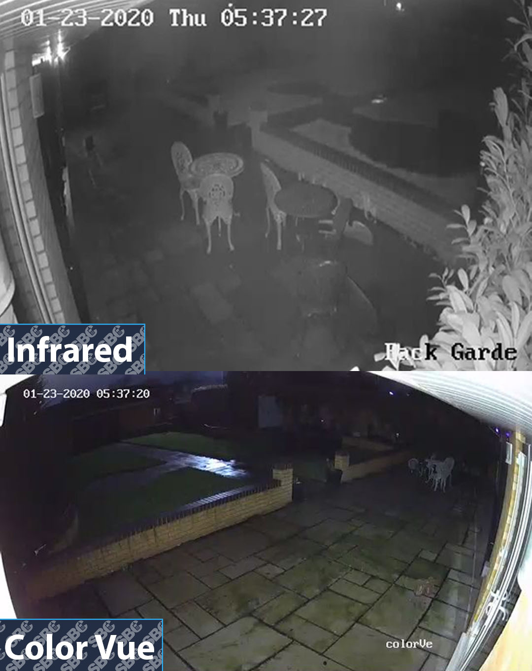 Superior Hikvision colorvu turret camera compared against impractical infrared technology at night.