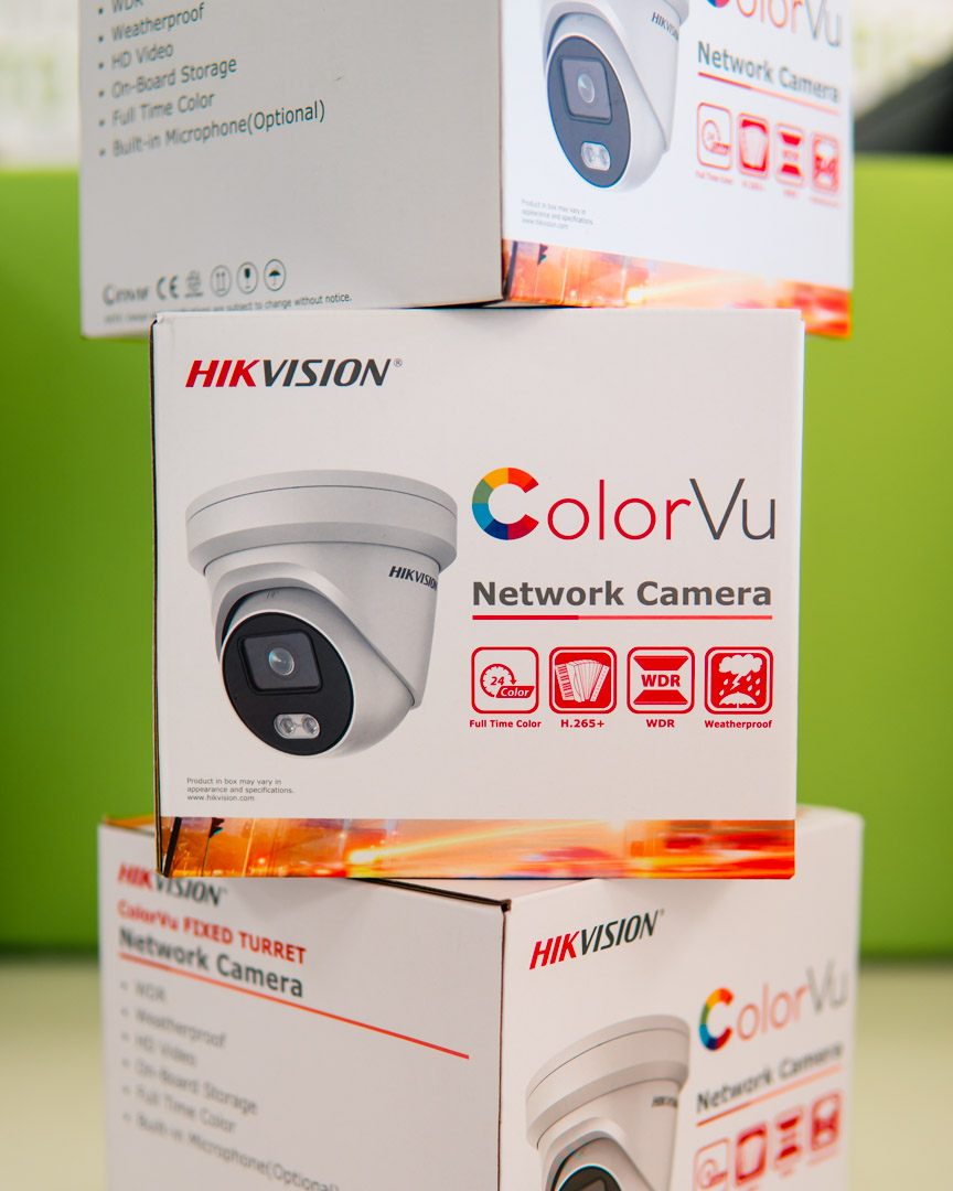 Three Hikvision colorvu turret cameras packed and ready to be shipped to a customer to protect their small UK business