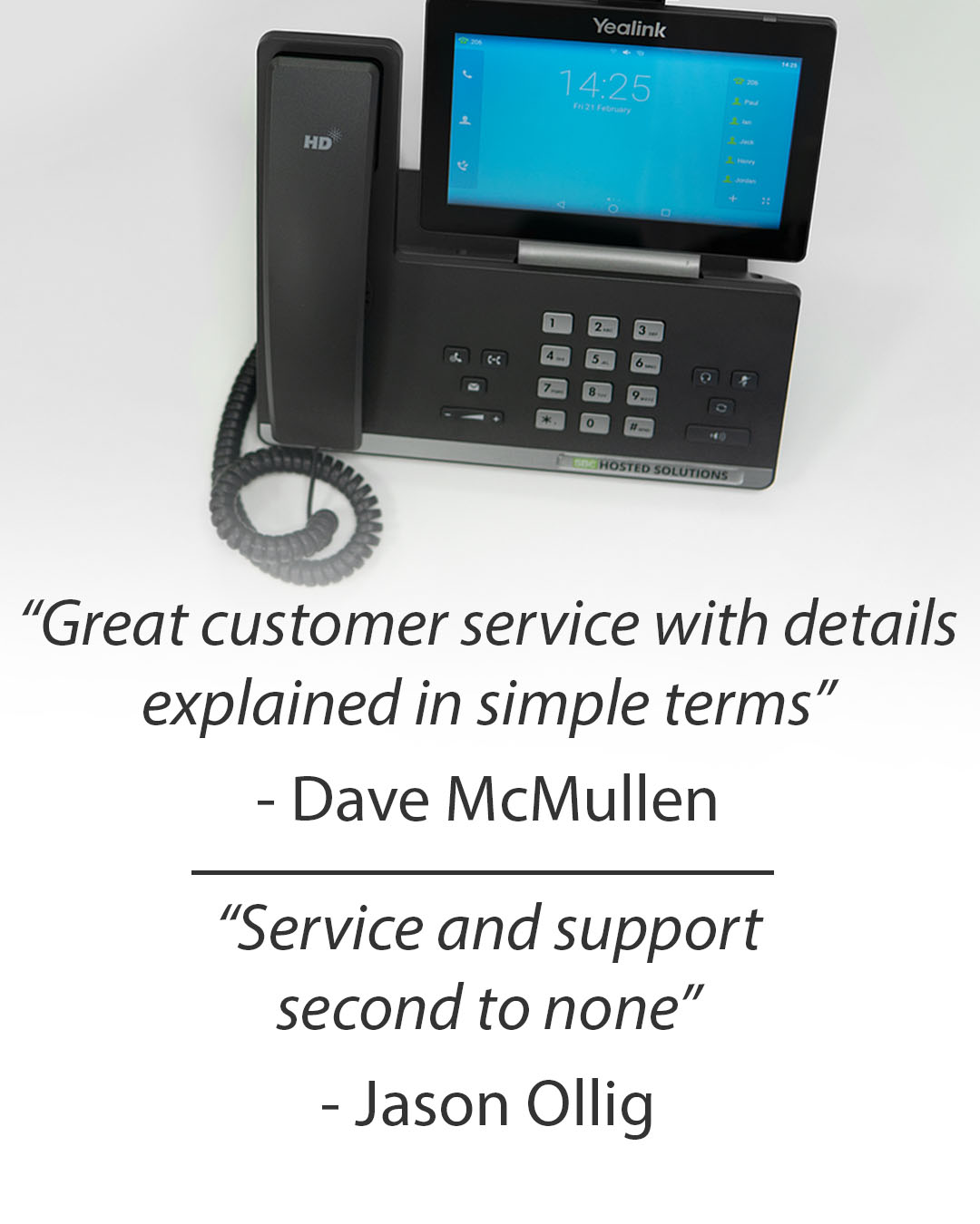 Two reviews of Southern Business Communications Ltd by happy customers Dave McMullen and Jason Olig