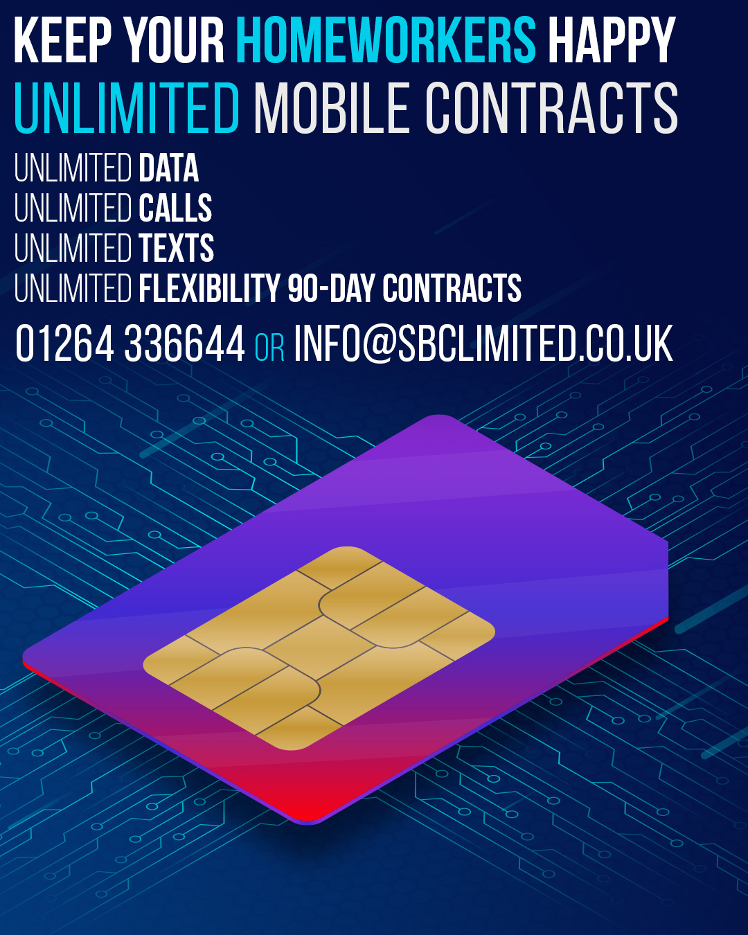 Unlimited Sim Only Deals from SBC include: Unlimited Data, Unlimited Calls, Unlimited Texts and Unlimited Flexibility.