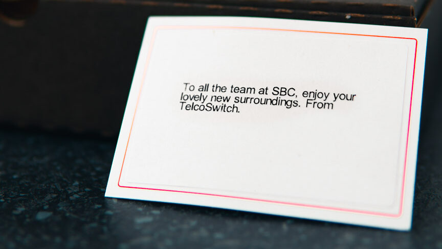 The note included with the gourmet chocolate pizza from our suppliers at telco switch.