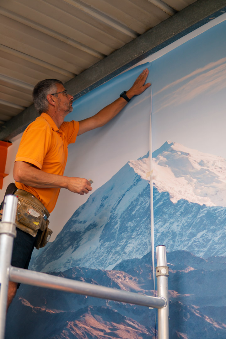 Mount cook wallpaper being added to our amazing rec room