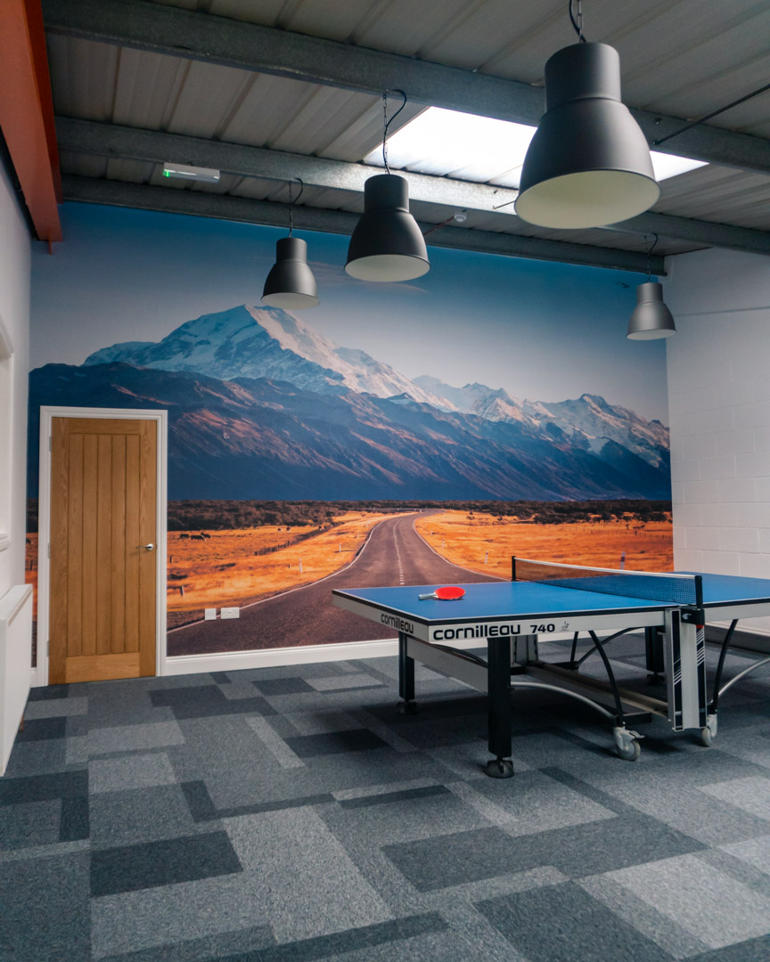 Our Amazing SBC Office Rec Room finished with mount cook wallpaper