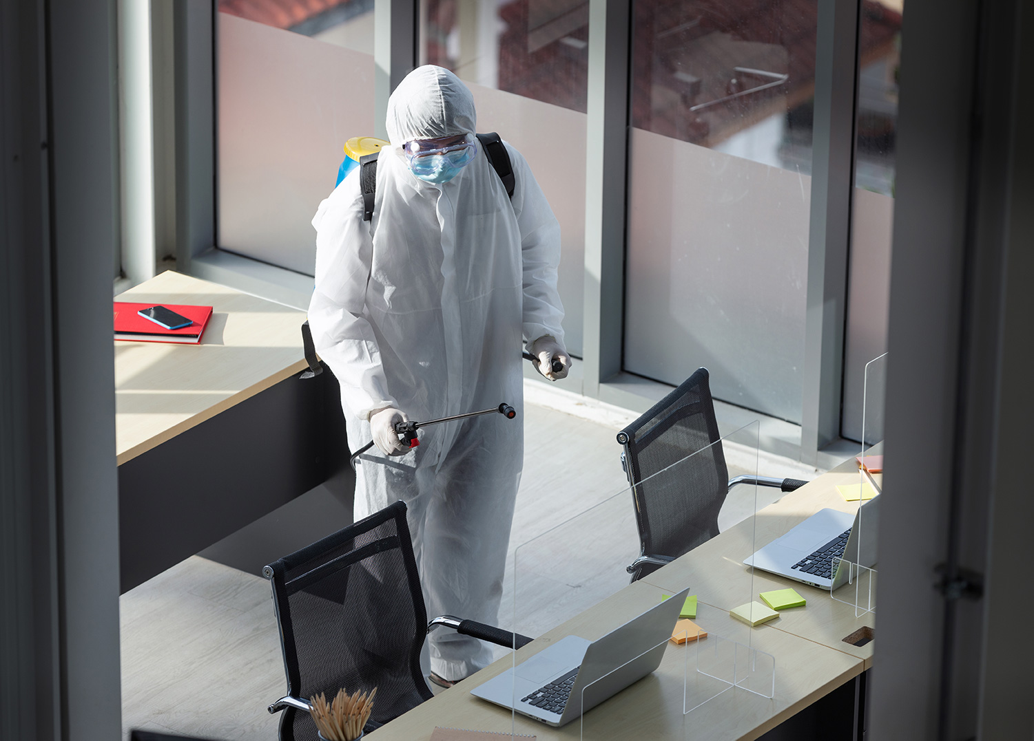 Disinfecting an office to create a covid-19 safe workplace