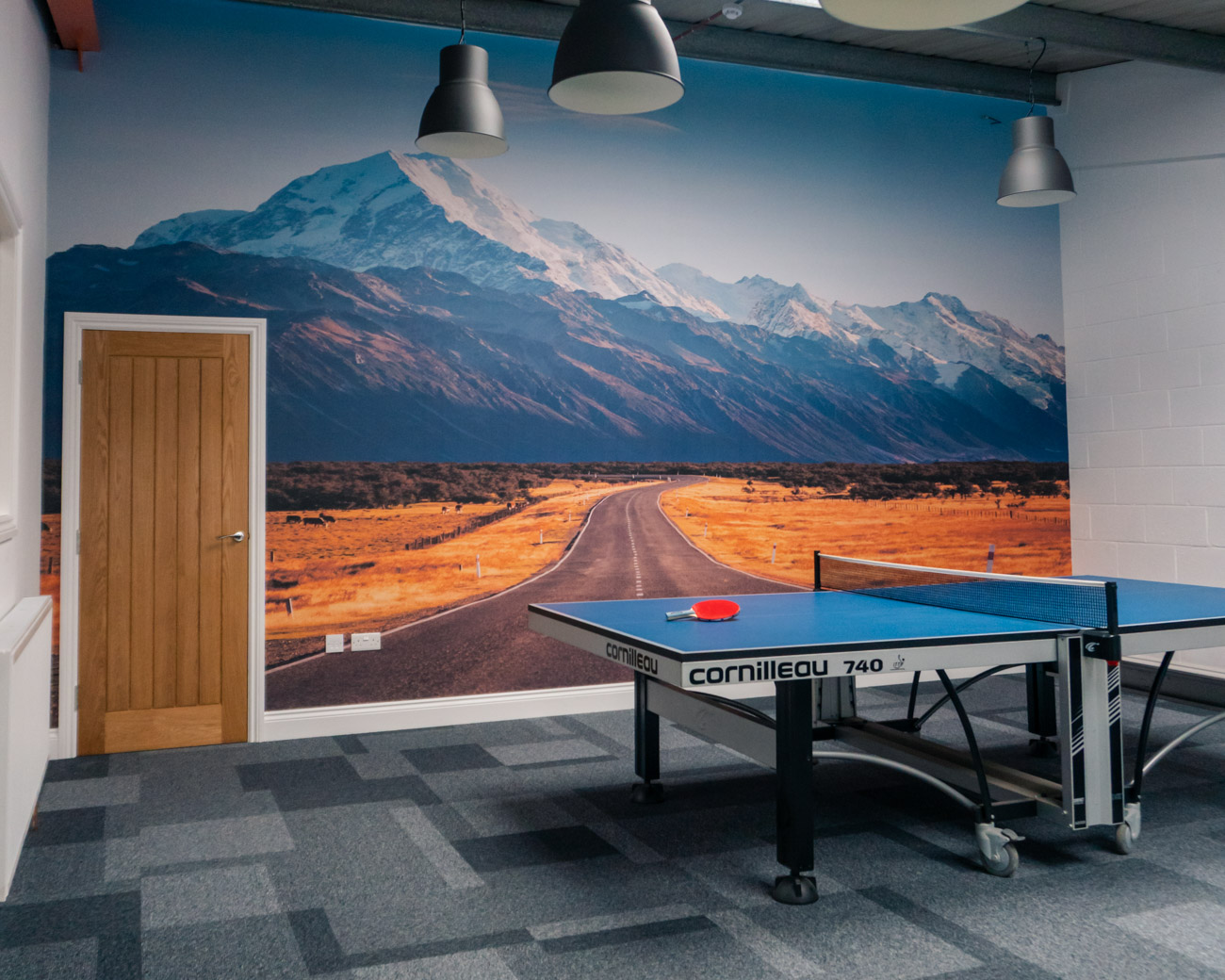 Ping Pong Table in SBC staff chill-out area with New Zealand backdrop