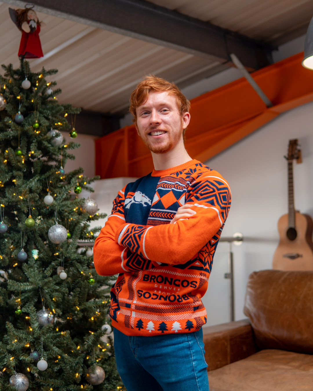 Christmas Jumper Day 2020: Josh wearing Denver Broncos Christmas Jumper